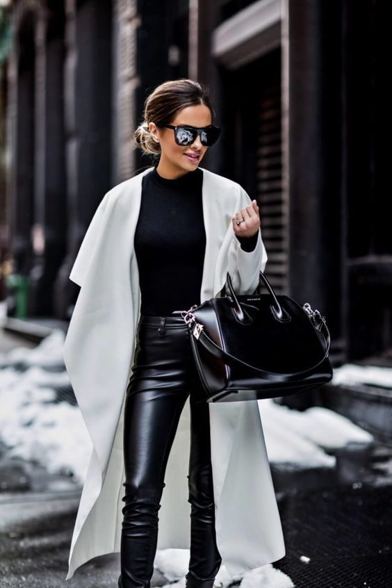 Wearing Faux Leather Is No Longer a Fashion Faux Pas #leatherpantsoutfit