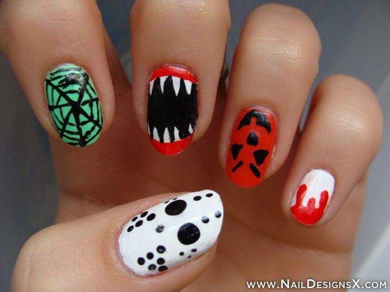 Hallowen Mix Nail Art Nail Designs Nail Art Halloween Nail