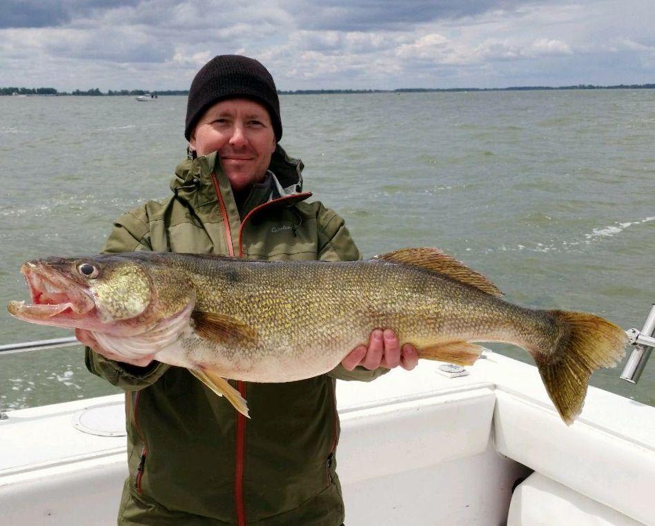 34 inch walleye caught jig fishing aboard coe vanna 111