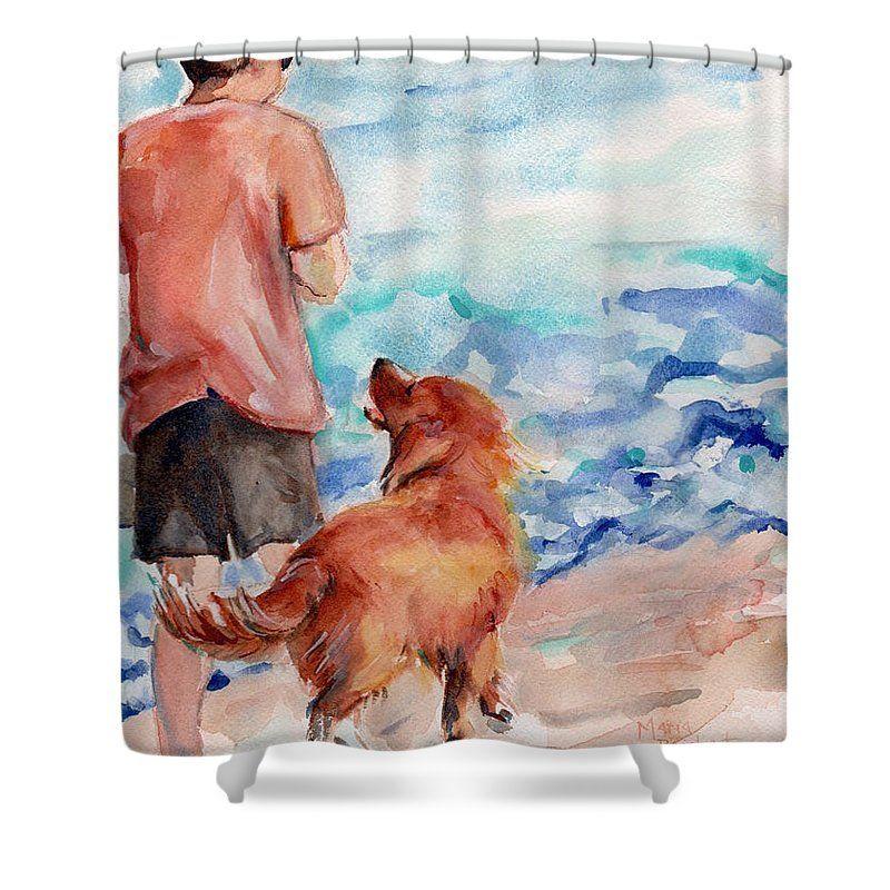 Golden Retriever Shower Curtain Featuring The Painting Golden