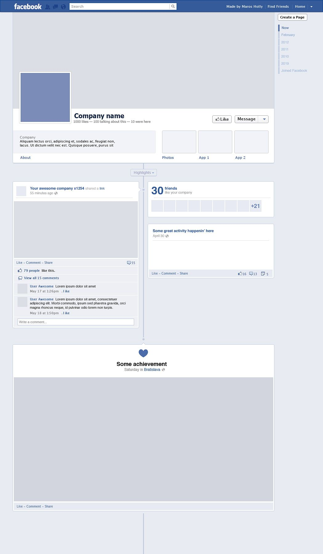 Facebook Timeline (Free PSD) | Web Goodies | Pinterest ...