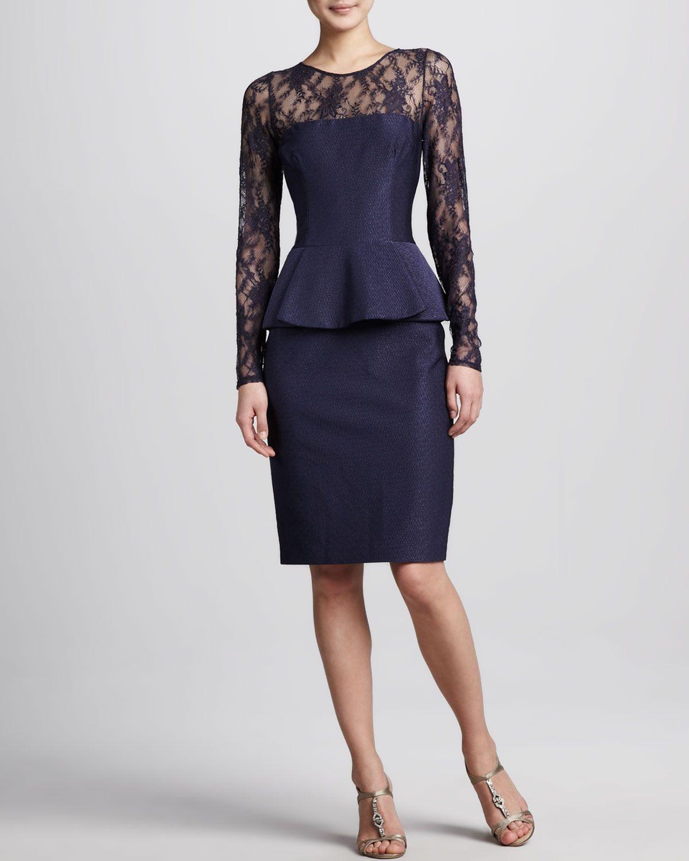 0786735287 David Meister Illusion-Neck Peplum Cocktail Dress - Neiman Marcus