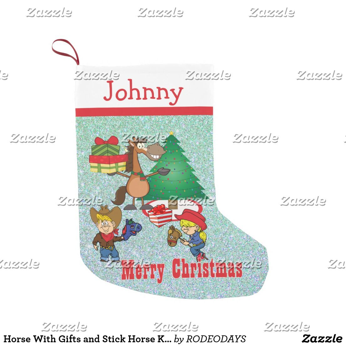 Horse With Gifts and Stick Horse Kids Stocking | Western Christmas ...