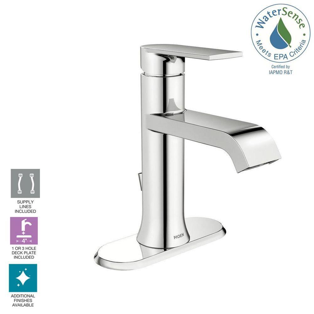 Moen Genta Single Hole Single Handle Bathroom Faucet In Chrome Ws84760 The Home Depot Single Handle Bathroom Faucet Bathroom Faucets Faucet Moen single handle bathroom faucet