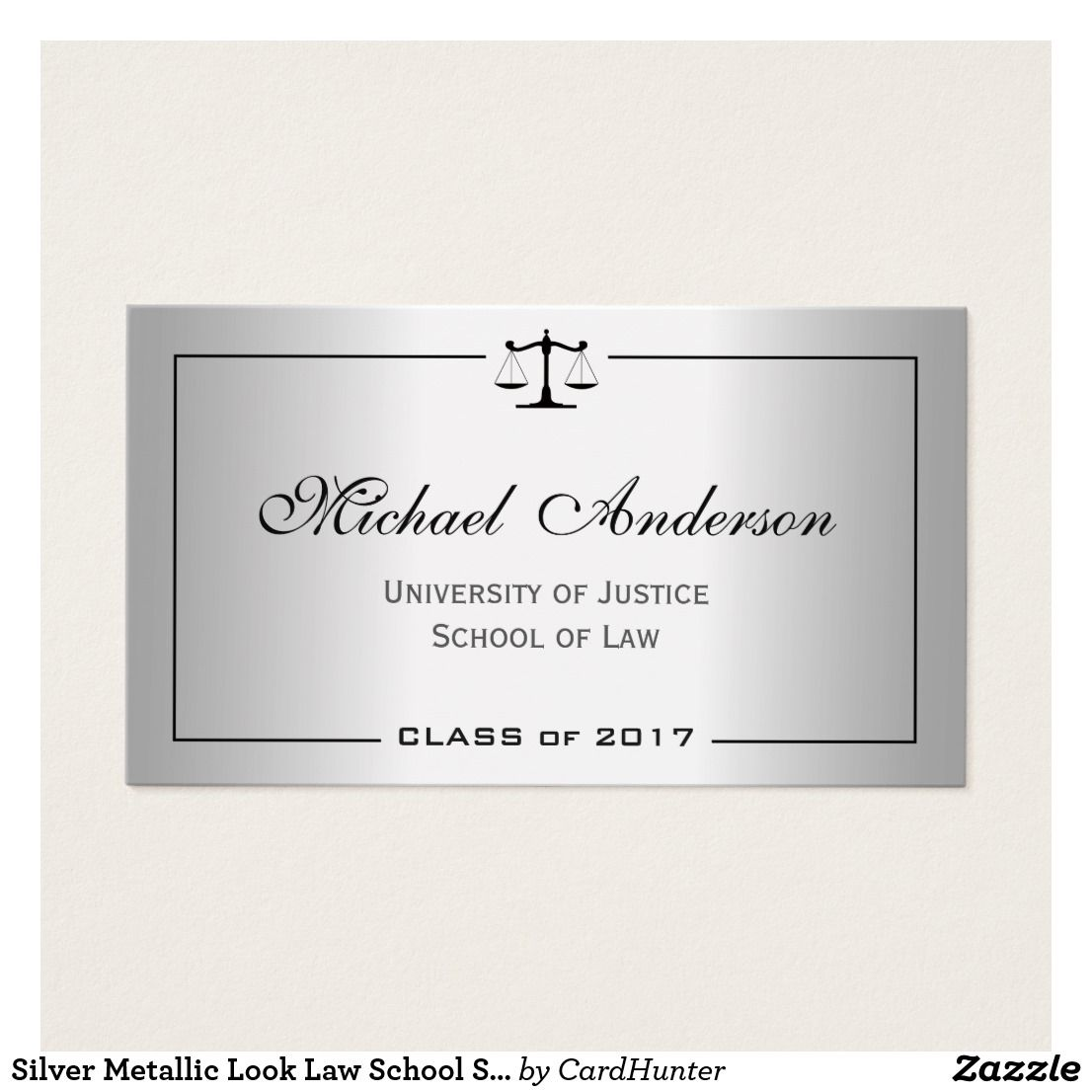 Silver Metallic Look Law School Student Calling Card | Pinterest ...