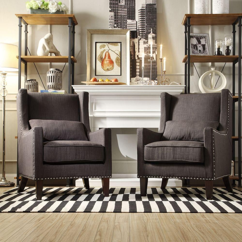 Best Homesullivan Ashley Charcoal Linen Wing Back Arm Chair 400 x 300