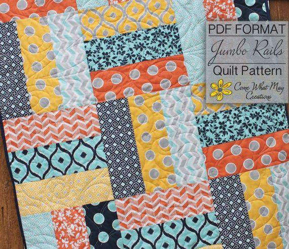 Baby Quilt Pattern Lap Quilt Pattern Jumbo Rails Baby