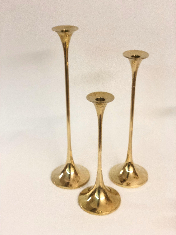 Scandinavian Candle Holder Tulip Brass Design Sweden Gnusjo Etsy In 2020 Scandinavian Candle Holders Scandinavian Candles Candle Holders