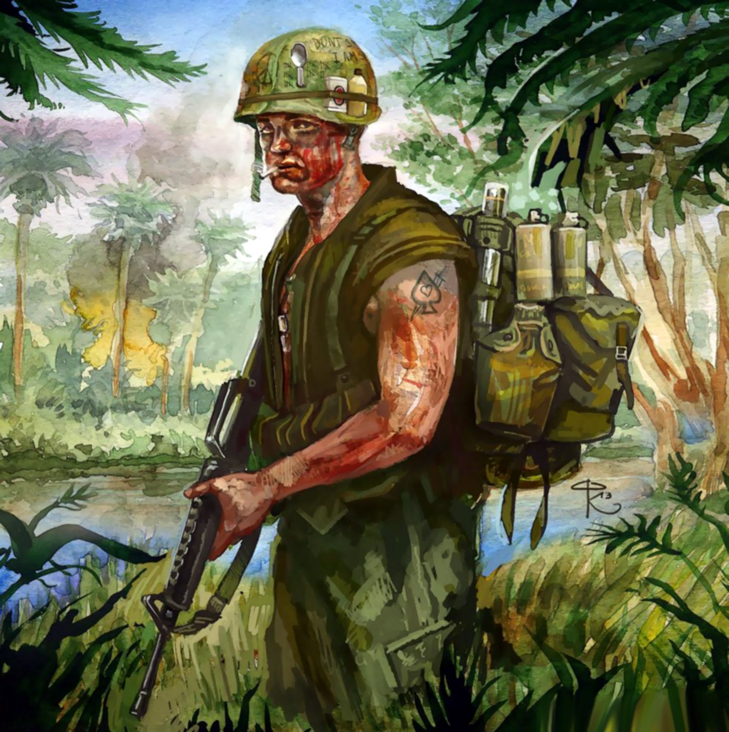 US troop in Vietnam | Vietnam War Art | War, Vietnam ...