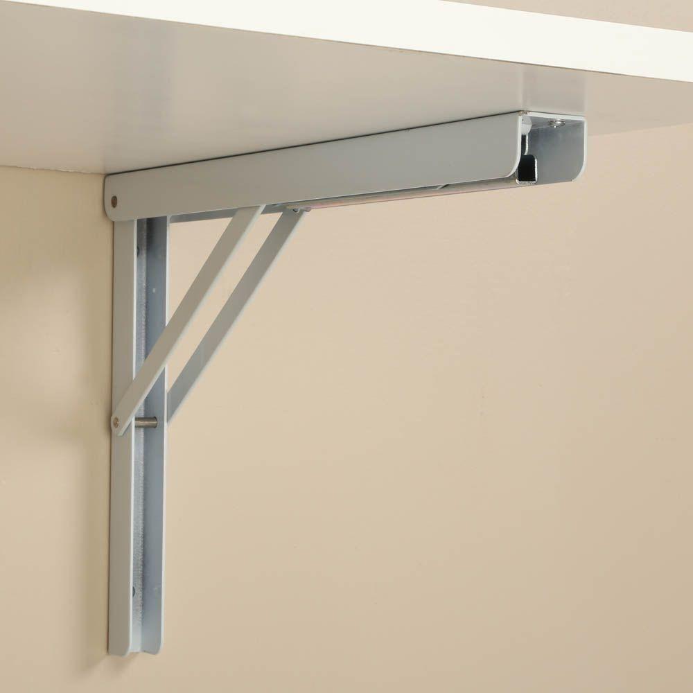 Knape Vogt 16 In Heavy Duty Folding Shelf Bracket In White Hd
