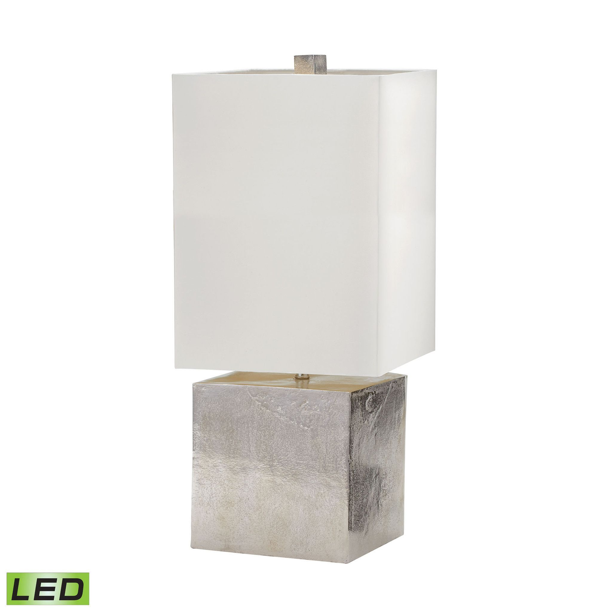 Cement Cube LED Table Lamp in Nickel Nickel