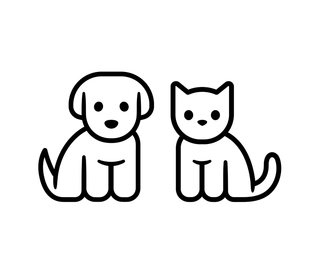 Simple Line Icon Design Puppy Kitten Puppy Drawing Easy Cat And