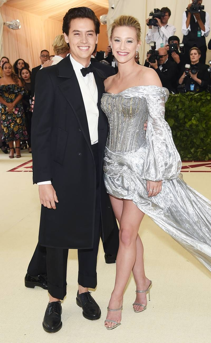 "Cole Sprouse & Lili Reinhart at 2018 Met Gala ""Heavenly Bodies: Fashion and the Catholic Imagination"""