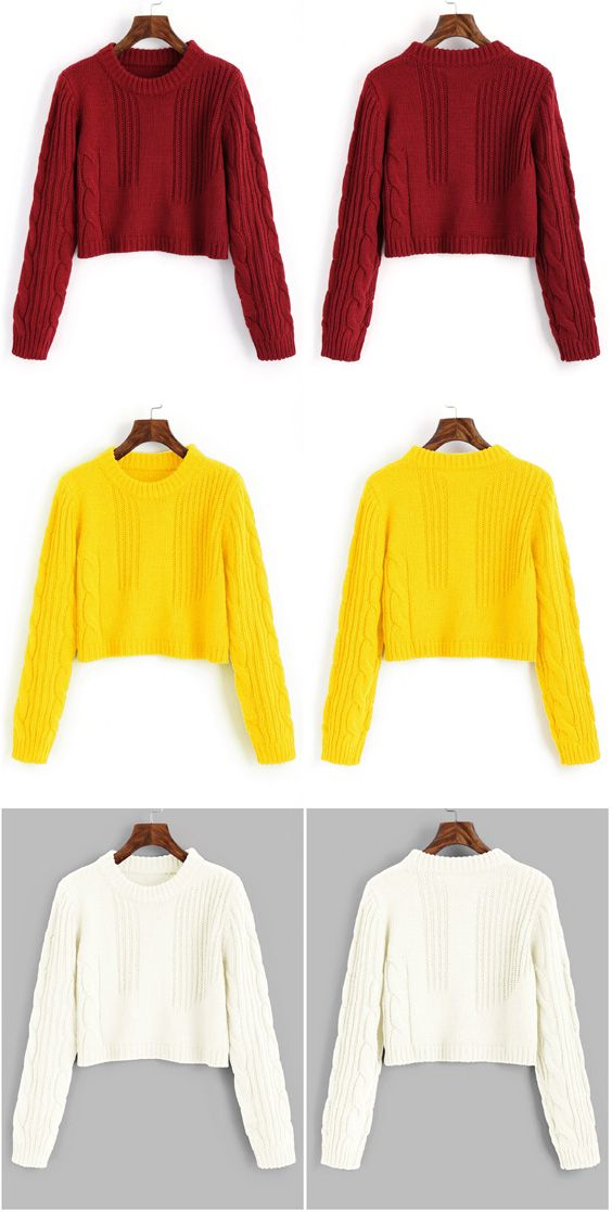 90d4c2a2116c29 Cable Knit Panel Pullover Cropped Sweater.  Zaful
