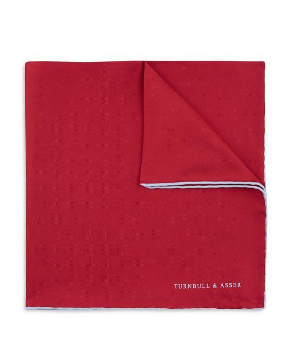 Turnbull & Asser Basic Solid Pocket Square with Border