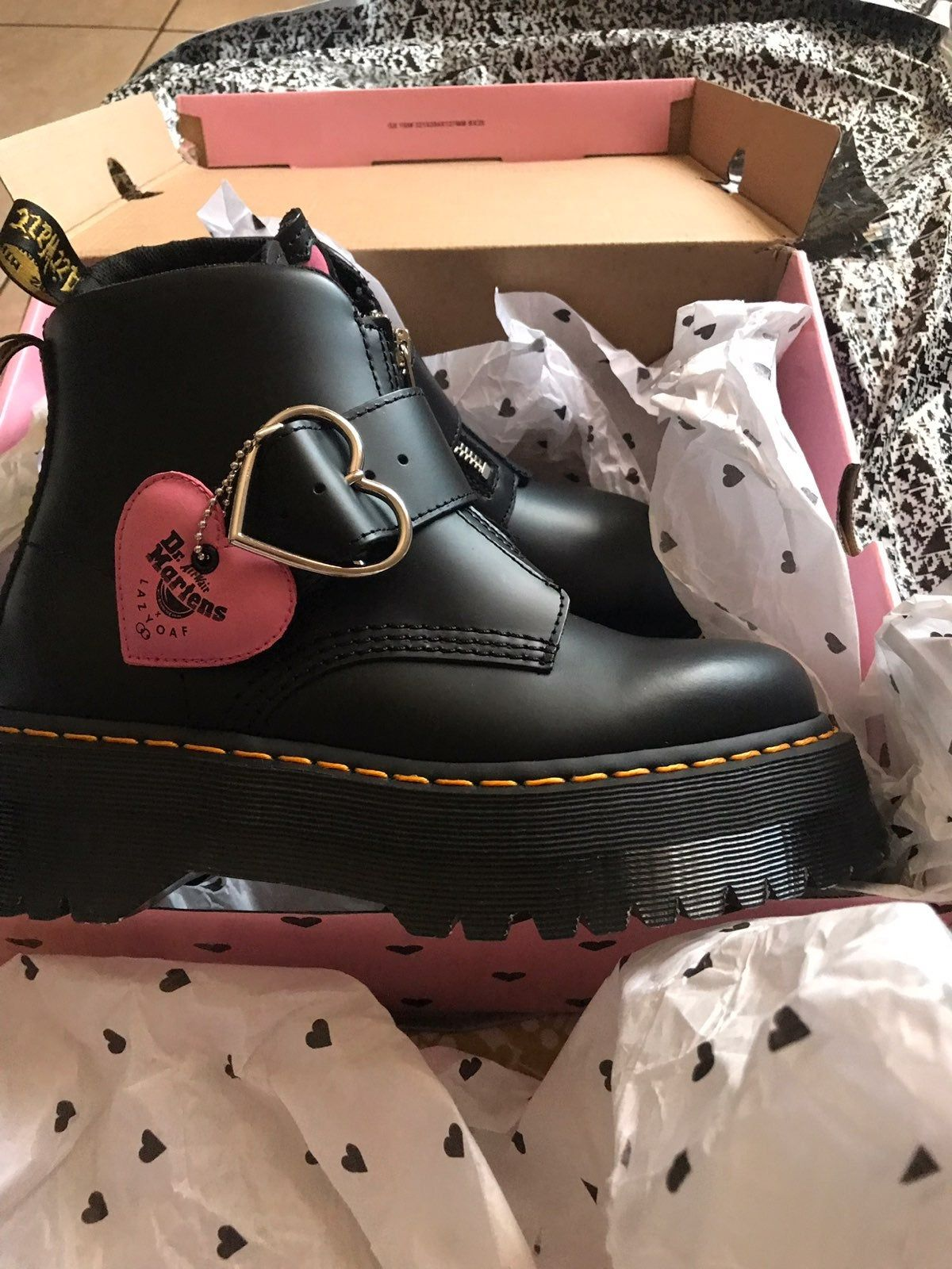 The platform boots from the Dr. martens x Lazy Oaf collaboration!! These have the cutest heart Buckle on the side and little heart details on tongue and back of the boot! (selling size 7 and 8) lmk if you have any questions :)