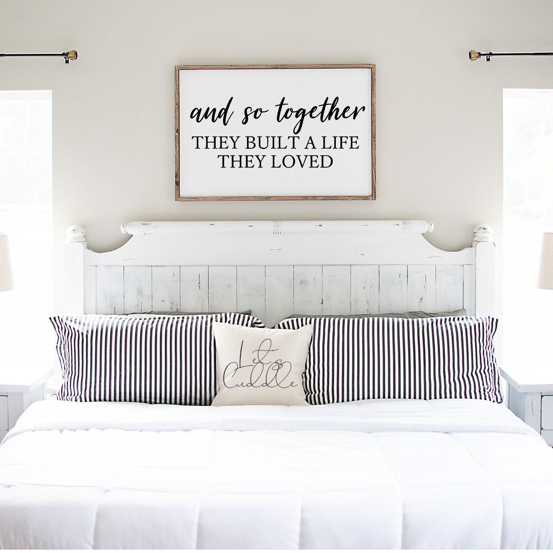 Wood Sign And So Together Que Sign Inspirational Quote Sign Farmhouse Style Signote Framed Wood Master Bedrooms Decor Wall Decor Bedroom Bedroom Signs
