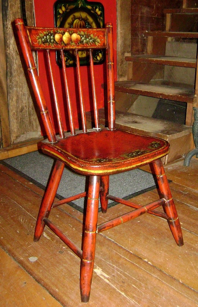 Genuine Peter Ompir American Folk Art Hand-Painted Antique Side from  rockrivercottageantiques on Ruby Lane - Antique Painted Chairs Antique Furniture
