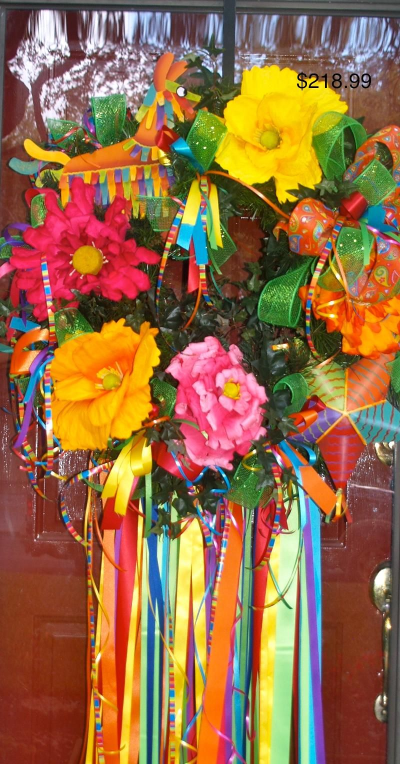 Fiesta Wreath For Front Door Love Spring And Fiesta In San Antonio Holiday Wreaths