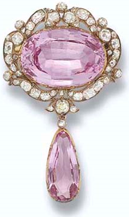 Antique Pink Topaz and Diamond Pendant Brooch.  Circa 1860,     purchased by H.R.H. The Princess of Wales, later H.M. #Queen #Mary, in 1901.   Sold at Christie's, London in 2006.