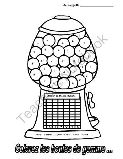 Colorez les boules de gomme colouring and graphing activity in french - Font des boules de gomme ...