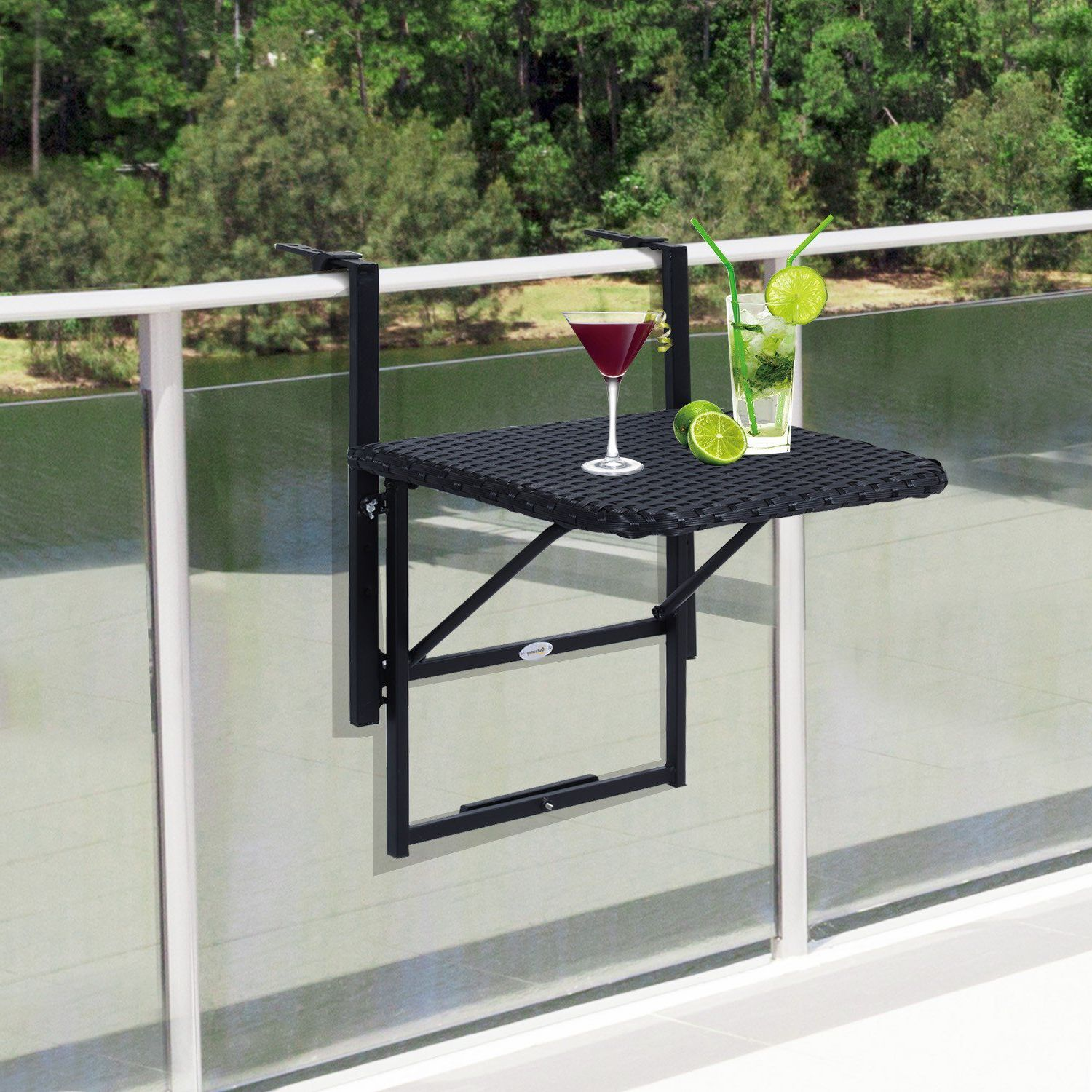 Folding Deck Rail Table Outsunny Outdoor Mounting | Balcones