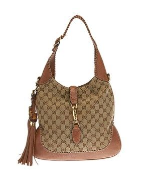 60f03971122e Gucci Brown Gg Canvas   Leather Jackie O (22623) Shoulder Bag. Get one of  the hottest styles of the season! The Gucci Brown Gg Canvas   Leather  Jackie O ...