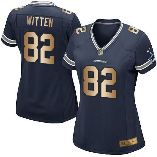 1751c274f Nike Cowboys #82 Jason Witten Navy Blue Team Color Women's Stitched NFL  Elite Gold Jersey And nfl jerseys best selling