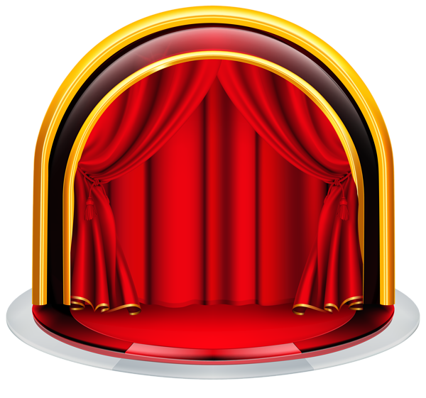 Stage with Red Curtains PNG Clipart Image | Graphics ...