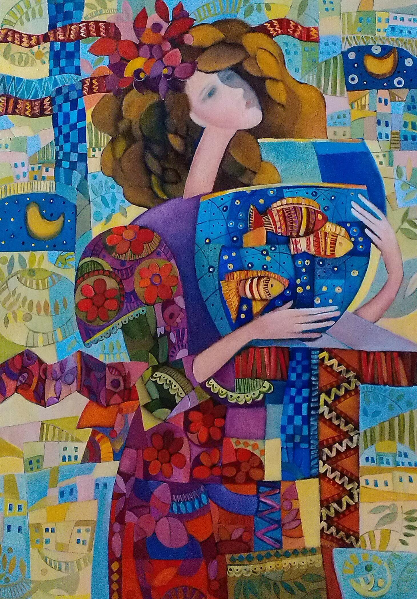 "Irina Kolesnikova, Odessa, ""Girl and fish"" oil on canvas, 2014 http://art-on-line.com.ua/ru/185_kolesnikova-irina-jivopis"