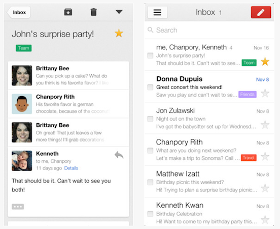 Gmail updated on iOS to support new inbox, more