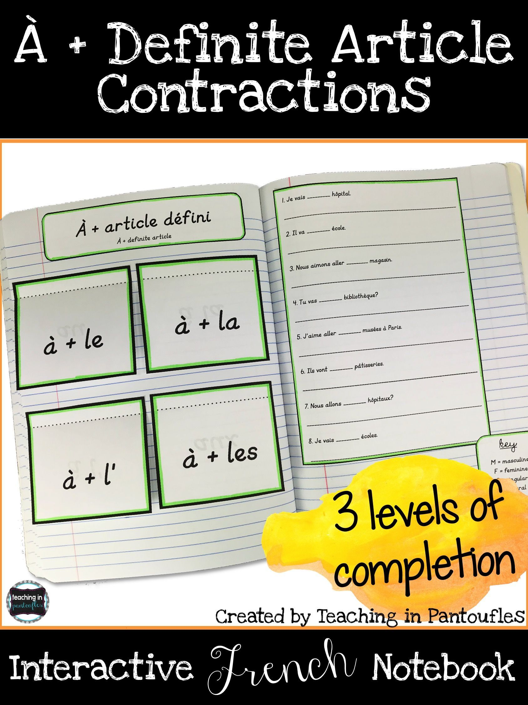 A Definite Article Contractions Foldable French
