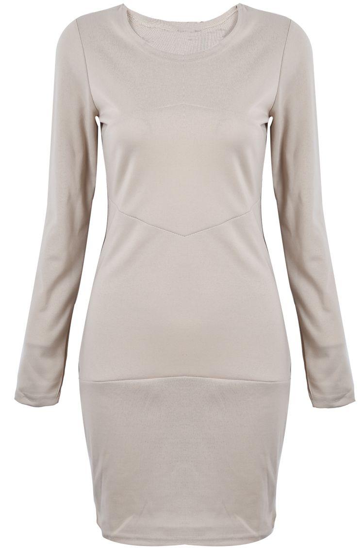 Khaki long sleeve simple design bodycon dress pregnancy