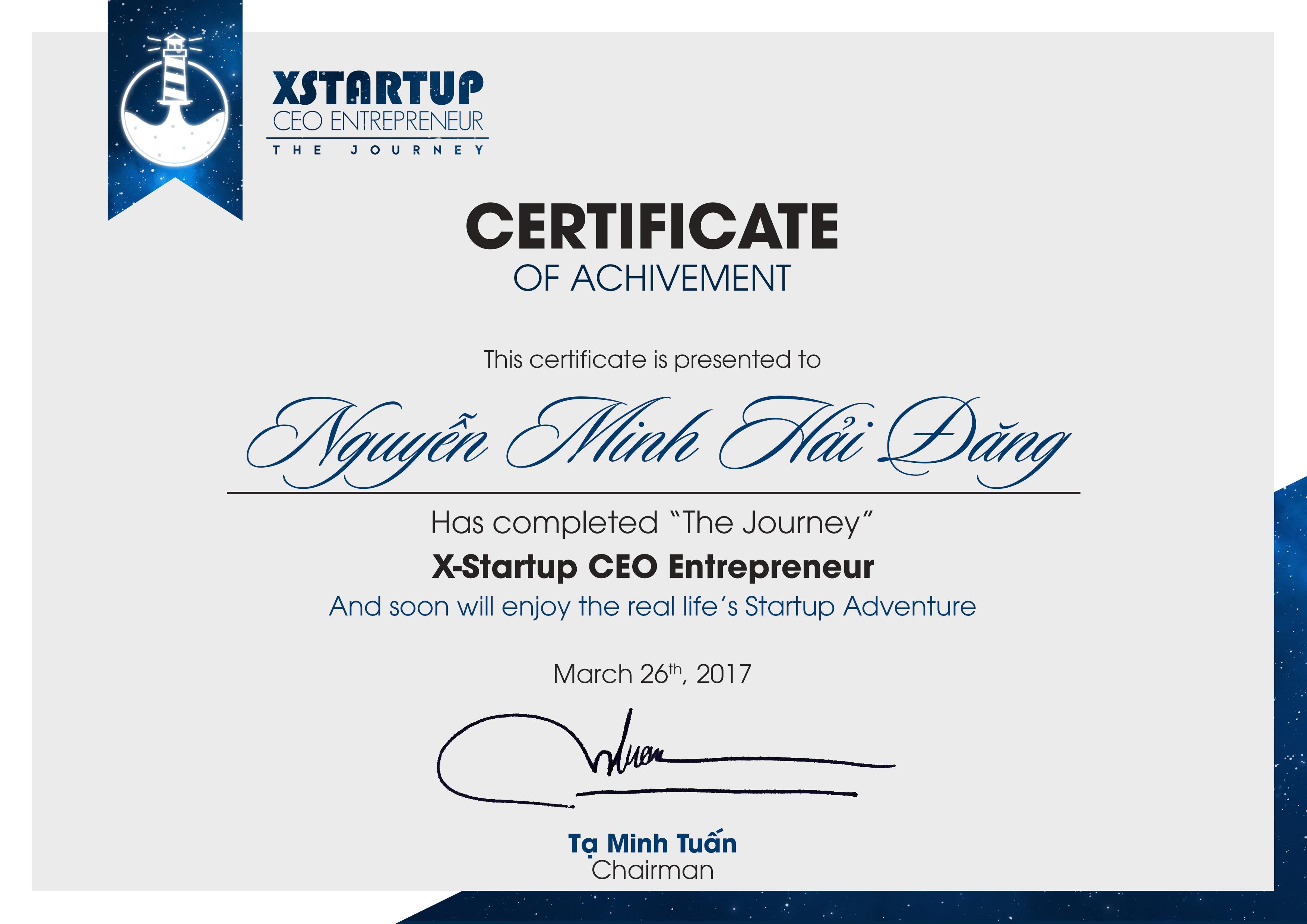 Xstartup Certificate