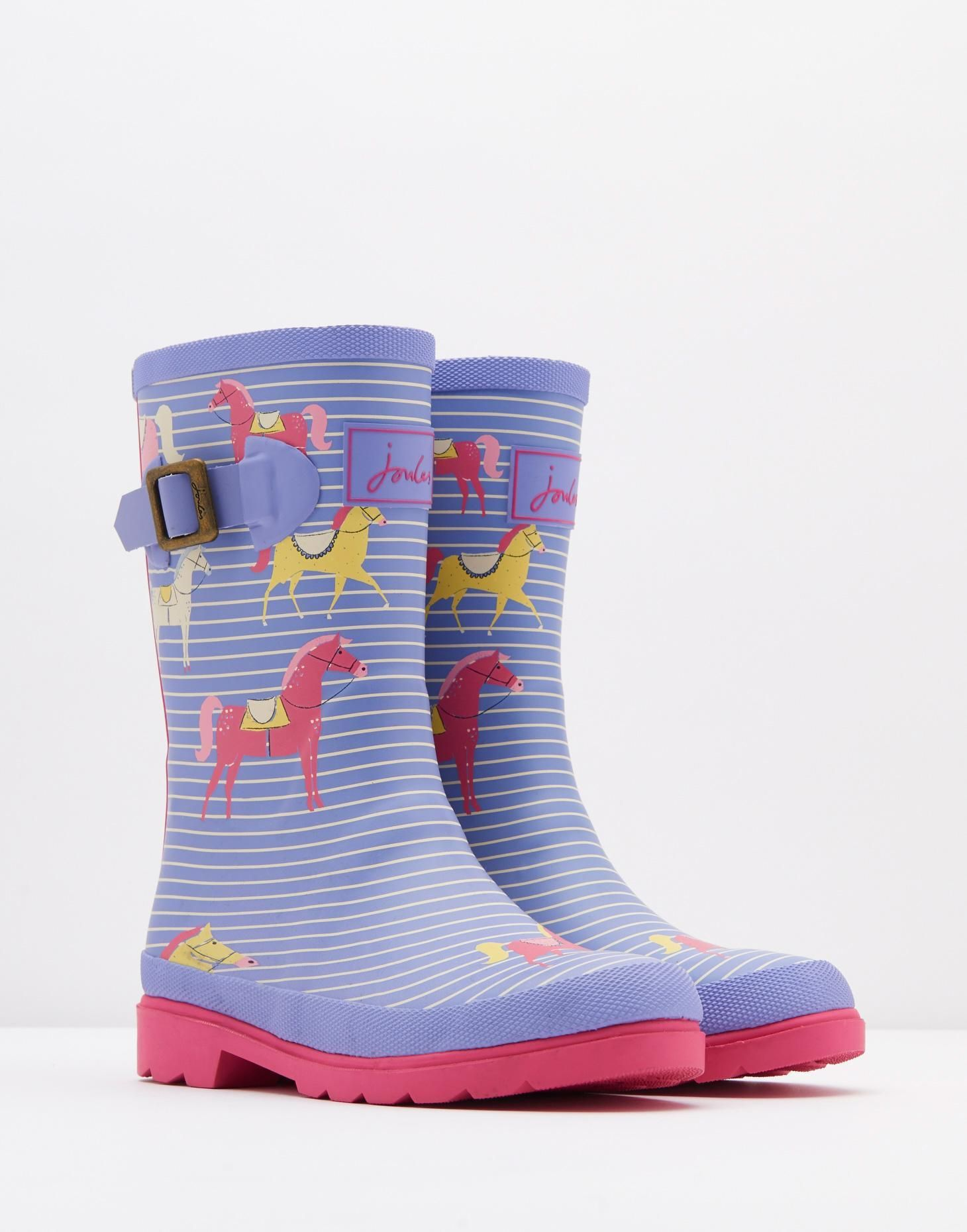 8d4e33b1d2800 Jnrgirlswelly Lavender Horse Printed Rain Boots | Joules US ...