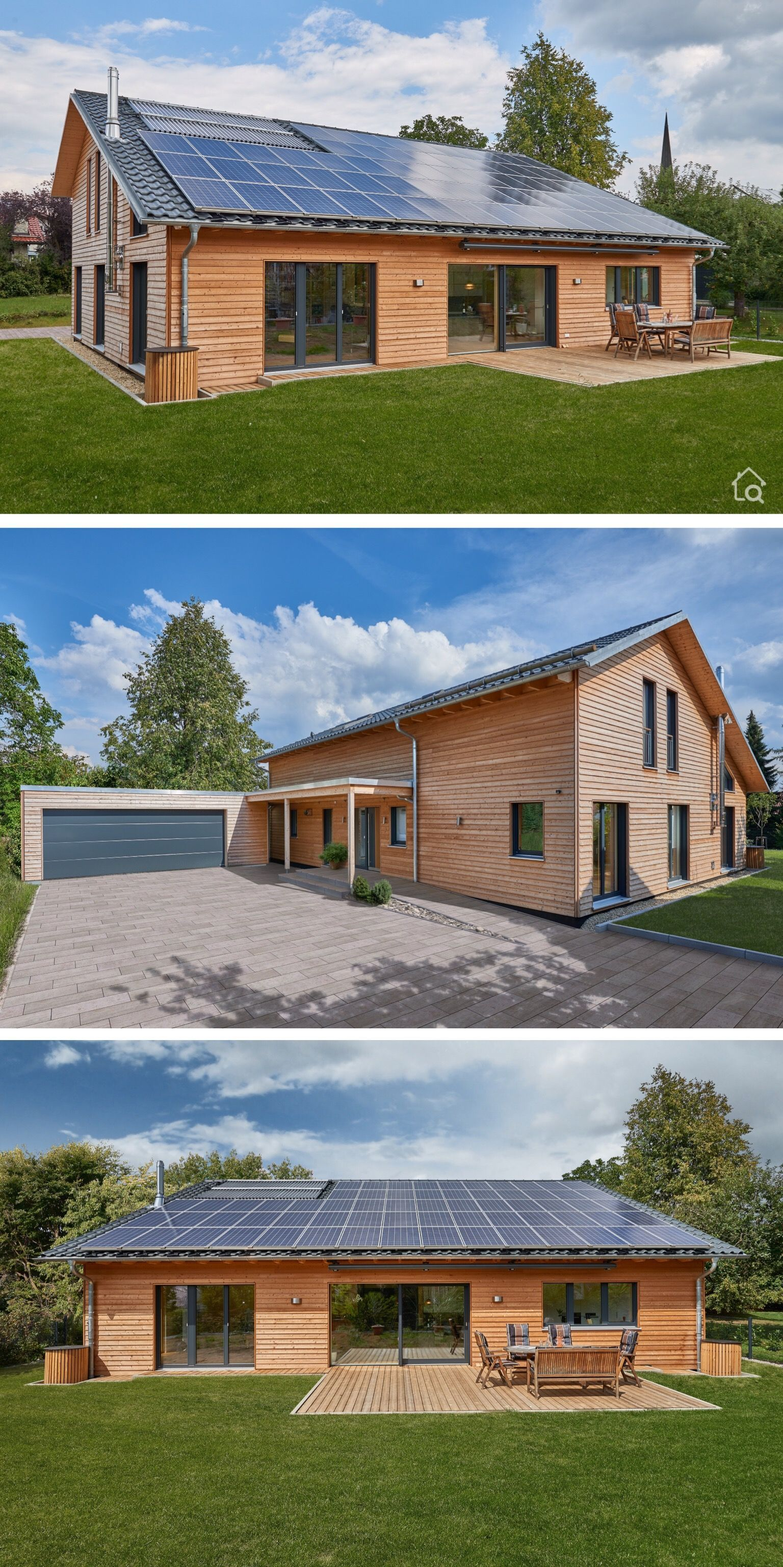 Individuelles Architektenhaus Modern Mit Holz Fassade Satteldach Architektur 5 Zimmer Grundriss Mit Doppelgarage 250 Qm G Baustil Holzhaus Ferienhaus Bauen