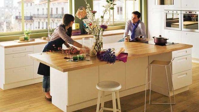 lot Central Grand Plan De Travail Cuisine Bois Blanc  Inspiration