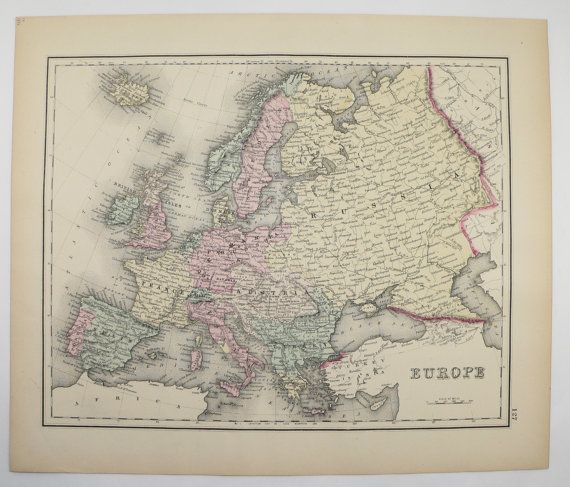Vintage europe map 1876 ow gray map england map ireland vintage europe map 1876 o gray map england map ireland scotland map great britain map old world map european home decor wall map available from gumiabroncs Gallery