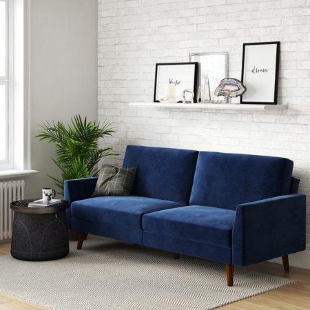 Dhp Jules Upholstered Velvet Coil Futon Convertible Sofa Sleeper