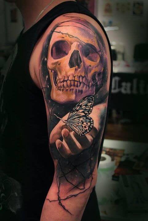 Human Jaw Tattoo: Colored Half Sleeve Tattoo Of Human Skull With Hand
