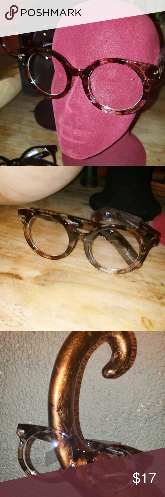 47ab8bb5b421 Retro Round Clear Lens Glasses Animal Print Round Oversized Retro Style  Clear Lens Fashion Eyewear Accessories