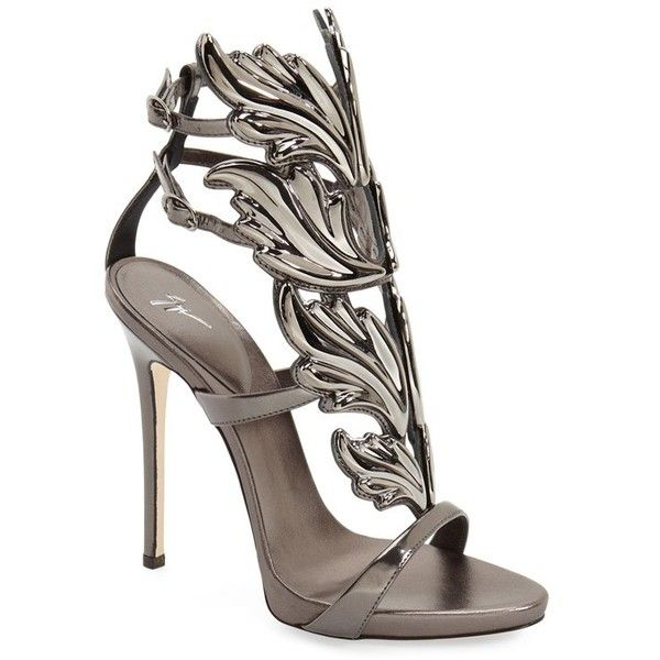 Women's Giuseppe Zanotti 'Cruel' Wing Sandal (€1.375) ❤ liked on Polyvore featuring shoes, sandals, heels, pewter leather, stiletto heel shoes, winged sandals, wing shoes, leather shoes and leather heeled sandals