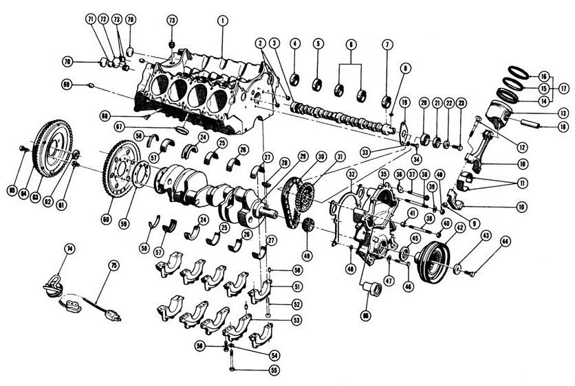 196775    V8    ENGINE BLOCK  EXC 1975  X    Exploded View