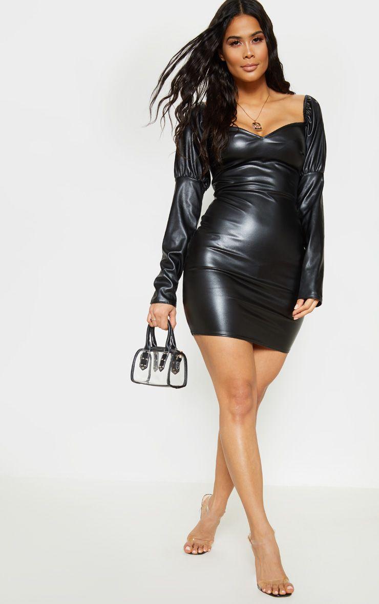 Black Faux Leather Puff Shoulder Bodycon Dress Bodycon Dress Cheap Bodycon Dress Leather Dresses [ 1180 x 740 Pixel ]