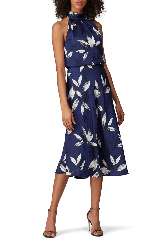 Rent Navy Floral Halter Dress By Adrianna Papell For 30 Only At Rent The Runway Floral Halter Dress Dresses Halter Dress