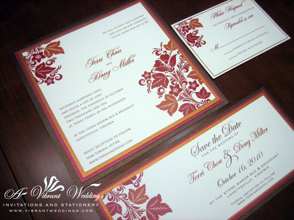 Brown, Red, Orange and Ivory wedding invitation with Fall leaves ...
