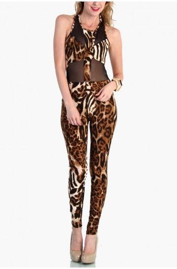 LoveMelrose.com From Harry & Molly | Mesh and Leopard Bodysuit