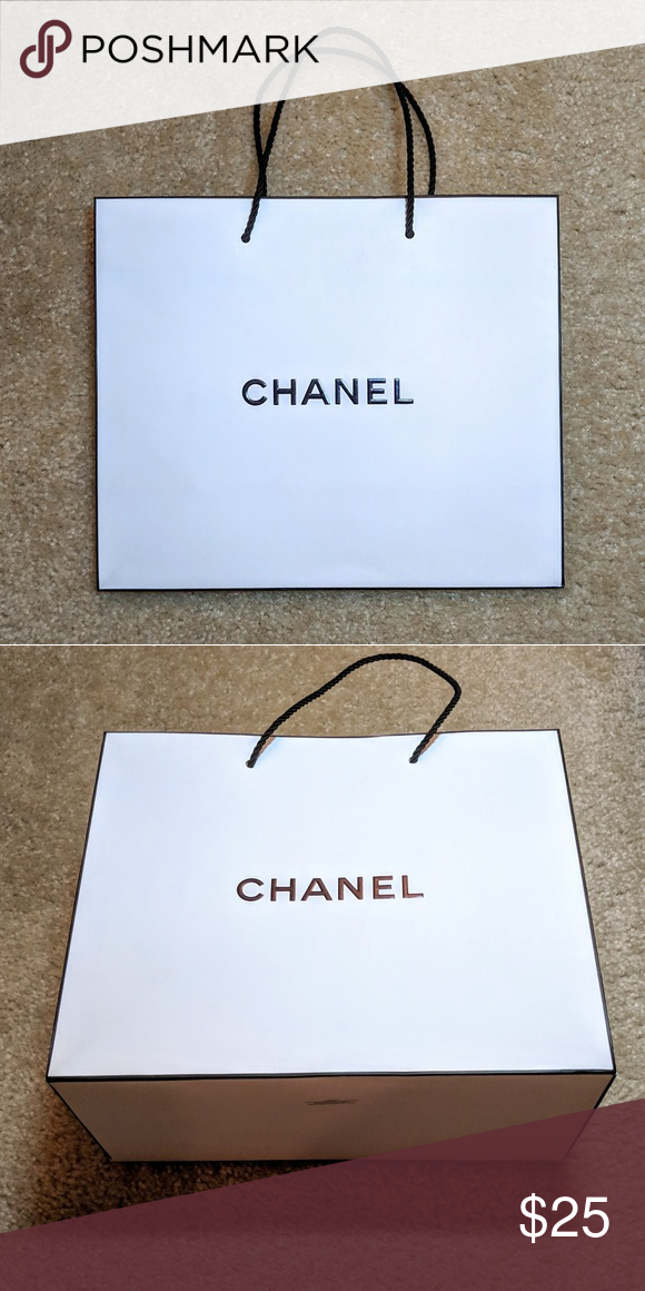 1b42ba73d9f2 Authentic Chanel Gift Bag with Rope Handles Authentic Medium Chanel Gift Bag  with Black Rope Handles - Signature white bag with black trim and black  handles ...