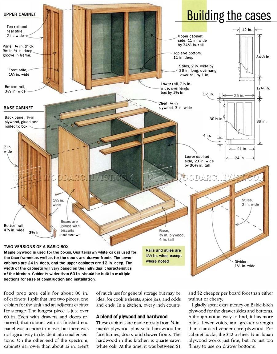 632 Kitchen Cabinets Plans Furniture and Projects