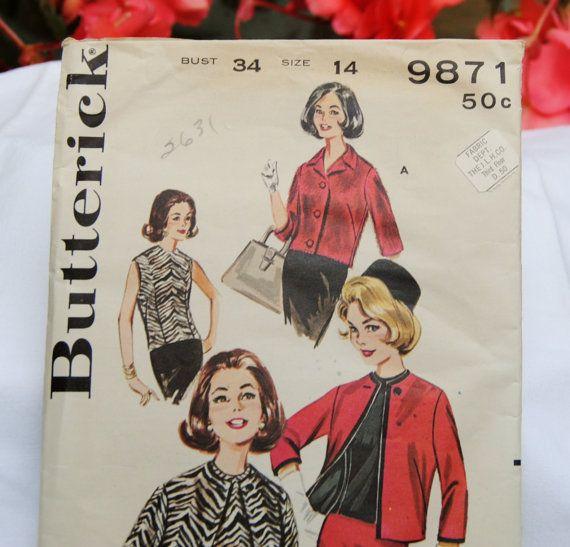 Vintage Butterick 9871 Pattern UncutJacket & Overblouse by YPSA, $8.50